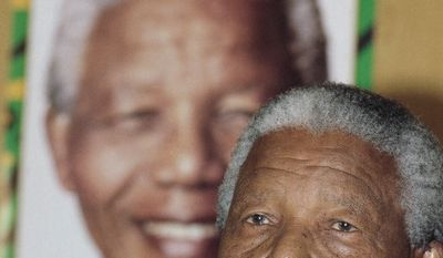 African National Congress (ANC) leader Nelson Mandela at a press conference on Thursday, March 31, 1994 in Johannesburg in which he commented on South African President F.W de Klerk's declaration of the state of emergency in KwaZulu and Natal province. (AP Photo/Peter Dejong)