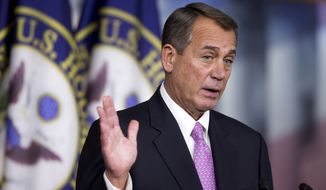 House Speaker John Boehner of Ohio speaks during a news conference on Capitol Hill in Washington, Thursday, Dec. 5, 2013.      (AP Photo/Manuel Balce Ceneta)