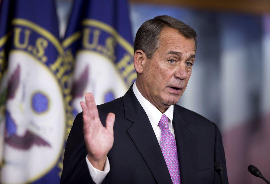 House Speaker John Boehner of Ohio speaks during a news conference on Capitol Hill in Washington, Thursday, Dec. 5, 2013.      (AP Photo/Manuel Balce Ceneta)