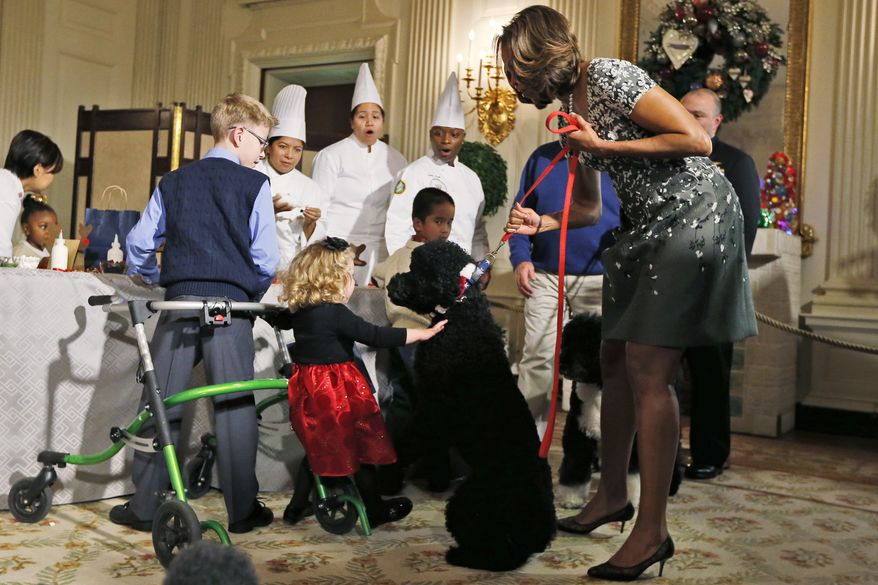 ** SECOND IN A SERIES OF SIX ** Ashtyn Gardner, 2, from Mobile, Ala., gets her foot caught on a walker belonging to another child, left, and begins to lose her balance as she is greeted by Sunny, one of the presidential dogs, as she is held on a leash by first lady Michelle Obama, as children of military families participate in a holiday arts and crafts event in the State Dining Room at the White House in Washington, Wednesday, Dec. 4, 2013. (AP Photo/Charles Dharapak)