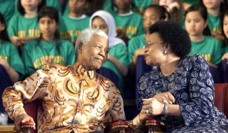 ** FILE ** This Nov. 17, 2001 file photo shows  Nelson Mandela and his wife Graca Machel sharing a private moment during a ceremony to rename a school Nelson Mandela Park Public School in Toronto. The former South African president, who spent much of 2013 in and out of the hospital, died Thursday, Dec. 5, 2013 at age 95. (AP Photo/The Canadian Press, Frank Gunn)