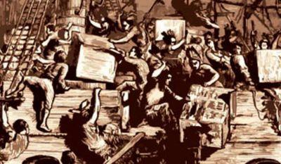 Illustration: Boston Tea Party by Linas Garsys for The Washington Times.