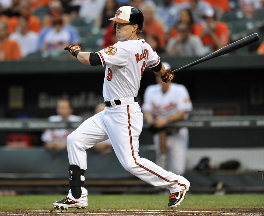 Baltimore Orioles' Nate McLouth follows through with a single against the Tampa Bay Rays in the first inning of a baseball game, Wednesday, Aug. 21, 2013 in Baltimore.(AP Photo/Gail Burton)