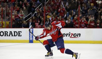 In this file photo, Washington Capitals right wing Alex Ovechkin (8), from Russia, celebrates his goal in the first period of an NHL hockey game against the Nashville Predators, Saturday, Dec. 7, 2013, in Washington. (AP Photo/Alex Brandon) **FILE**