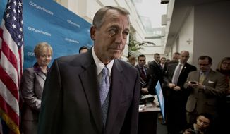 ** FILE ** This Dec. 3, 2013, file photo shows House Speaker John Boehner of Ohio leaving a news conference on Capitol Hill in Washington. (AP Photo/J. Scott Applewhite, File)