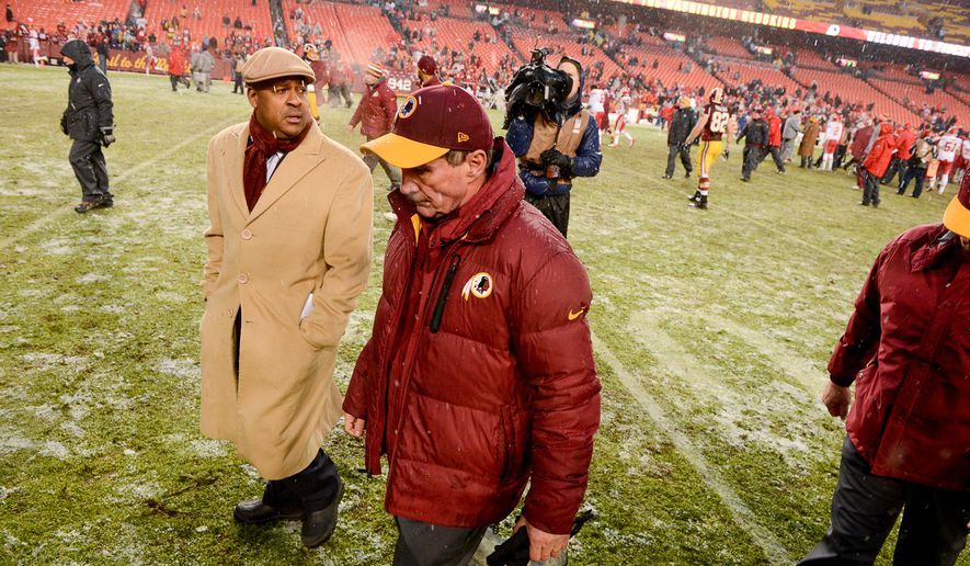 Washington Redskins head coach Mike Shanahan heads for the locker room as the Washington Redskins lose to the Kansas City Chiefs 45-10 at FedExField, Landover, Md., Sunday, December 8, 2013. (Andrew Harnik/The Washington Times)