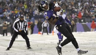 Baltimore Ravens wide receiver Marlon Brown scores a touchdown in the second half of an NFL football game against the Minnesota Vikings, Sunday, Dec. 8, 2013, in Baltimore. (AP Photo/Nick Wass)