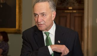 A move by Sen. Charles E. Schumer, New York Democrat, to include a nonremovable metal parts provision in the plastic gun ban bill was blocked. (ASSOCIATED PRESS)