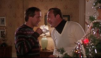 Actors Chevy Chase and Randy Quaid in the iconic 1989 Holiday movie National Lampoon's Christmas Vacation.