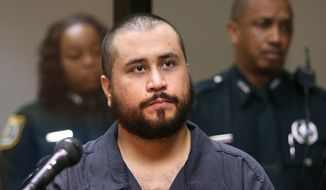 ** FILE ** In this Tuesday, Nov. 19,  2013, file photo, George Zimmerman, acquitted in the high-profile killing of unarmed black teenager Trayvon Martin, listens in court, in Sanford, Fla., during his hearing on charges including aggravated assault stemming from a fight with his girlfriend. (AP Photo/Orlando Sentinel, Joe Burbank, Pool, File)