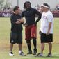 Washington Redskins quarterback Robert Griffin III talks to owner Dan Snyder. An ESPN report published before Sunday's game said that Shanahan entertained quitting last season over discontent about Snyder's close relationship with quarterback Robert Griffin III. (Associated Press)