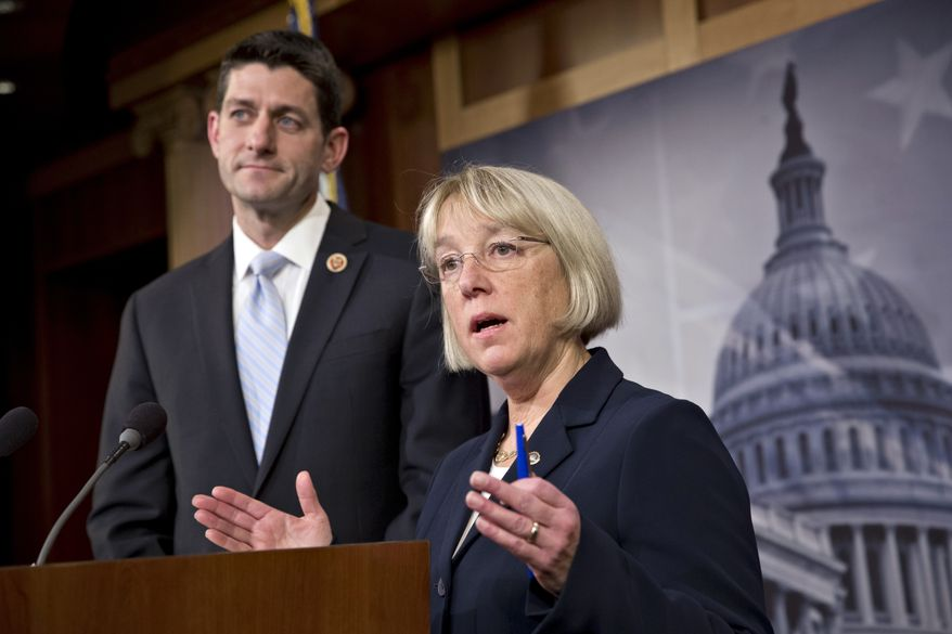 House Budget Committee Chairman Paul Ryan, R-Wis., left, and Senate Budget Committee Chairwoman Patty Murray, D-Wash., announce a tentative agreement between Republican and Democratic negotiators on a government spending plan, at the Capitol in Washington, Tuesday, Dec. 10, 2013. (AP Photo/J. Scott Applewhite)