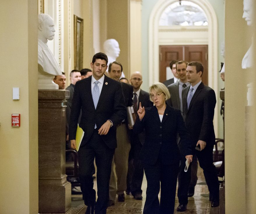 Rep. Paul Ryan (left), Wisconsin Republican, and Sen. Patty Murray, Washington Democrat, walk together at the Capitol in Washington on Tuesday, Dec. 10, 2013, as they head to a news conference to announce a tentative agreement between GOP and Democratic negotiators on a government spending plan. (AP Photo/J. Scott Applewhite)