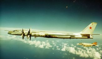 U.S. Navy F-4 Phantom fighter jets and Soviet Tu-95 Bear have a close encounter during the Cold War. (U.S. Navy)