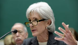 Health and Human Services Secretary Kathleen Sebelius testifies on Capitol Hill in Washington on Wednesday, Dec. 11, 2013, at a House Energy and Commerce Committee hearing on the implementation failures of the Affordable Care Act. (AP Photo/Susan Walsh)