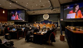 National Transportation Safety Board Chairman Deborah A.P. Hersman speaks during an investigative hearing in Washington on Wednesday, Dec. 11, 2013, into the crash landing of Asiana Airlines Flight 214 in San Francisco in July. (AP Photo/Jacquelyn Martin)