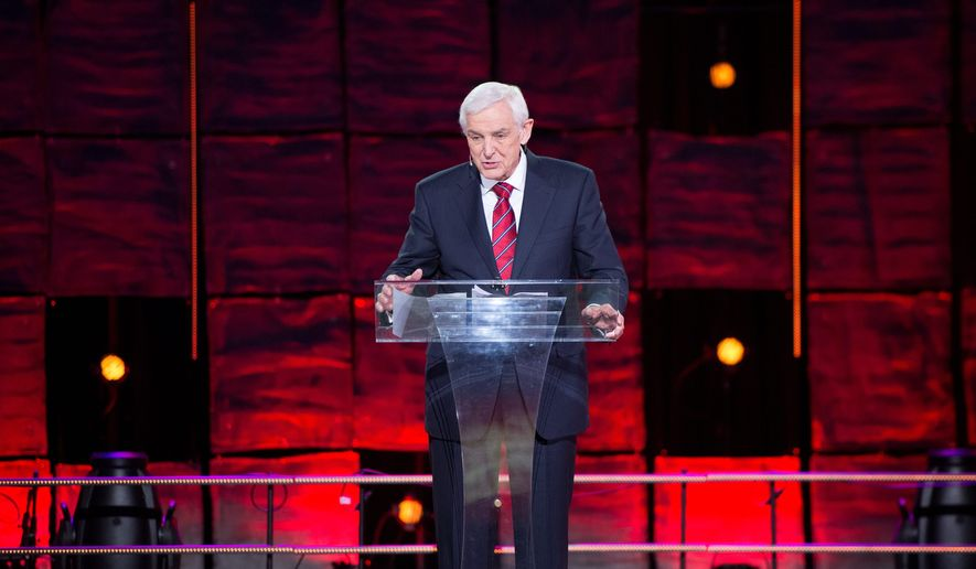 David Jeremiah, a popular Christian broadcaster and author of a new study Bible, preaches to 5,000 at New York's Madison Square Garden on Dec. 5, 2013. (Courtesy Icon Media Group) **FILE**