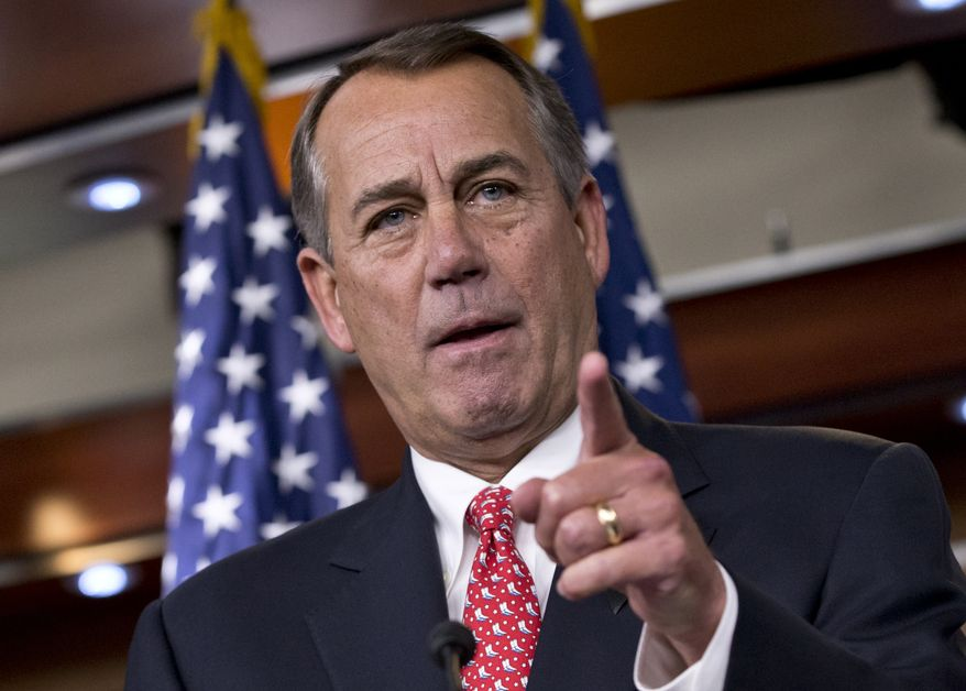 In this Dec. 12, 2013, photo, House Speaker John Boehner of Ohio rebukes conservative groups who oppose the pending bipartisan budget compromise struck by House Budget Committee Chairman Rep. Paul Ryan, R-Wis., and Senate Budget Committee Chairwoman Sen. Patty Murray, D-Wash., during a news conference on Capitol Hill in Washington. The Republican establishment's much-anticipated pushback against the tea party wing is underway. Boehner made that clear, when he renewed his earlier denunciation of groups that try to defeat GOP incumbents they consider too willing to compromise with Democrats.  (AP Photo/J. Scott Applewhite)