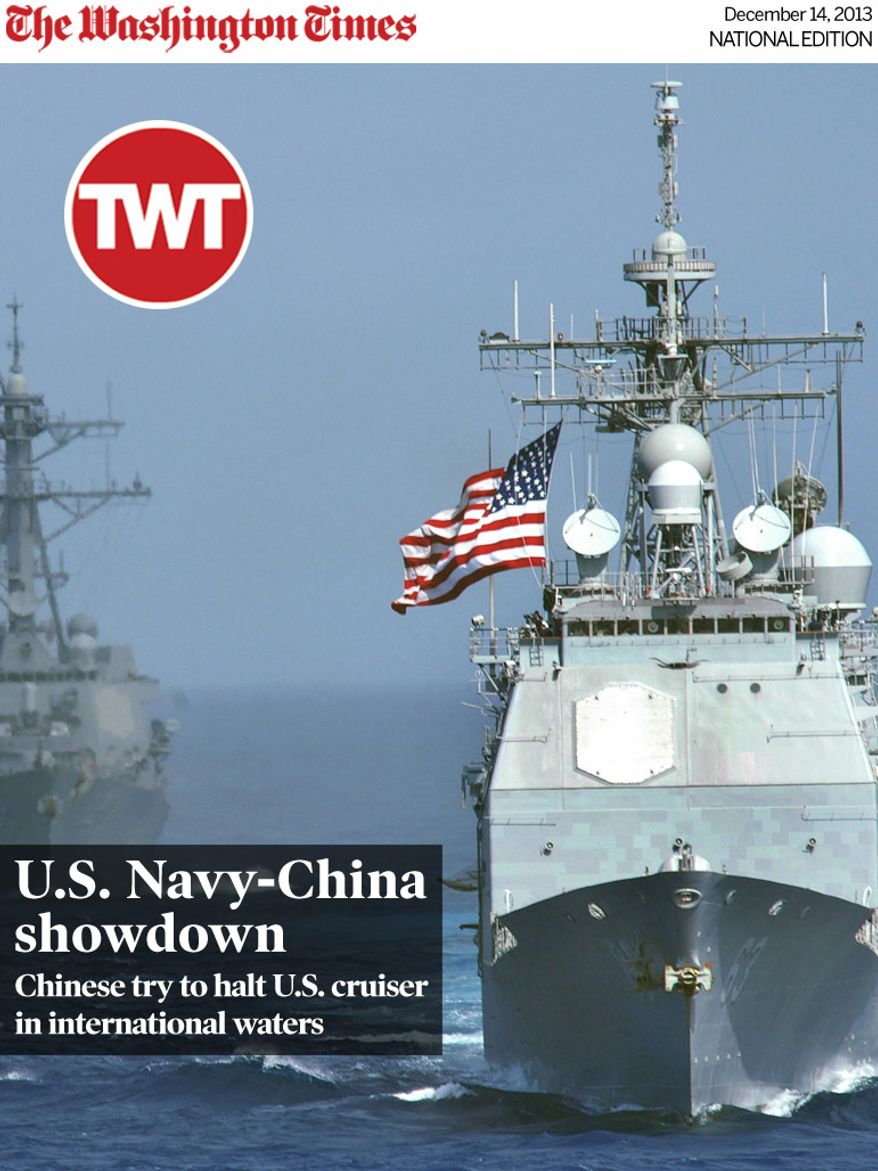 National Edition News Cover for December 14, 2013 - U.S. Navy-China showdown: The USS Cowpens (CG 63) leads the formation of USS Lassen (DDG 82), USS John S. McCain (DDG 56), USS Vandegrift (FFG 48) and USNS Tippecanoe (T-AO 199) in the Western Pacific Ocean on June 18, 2006, to start exercise Valiant Shield 2006.  The joint exercise consists of 28 naval vessels including three carrier strike groups and more than 300 aircraft and approximately 20,000 service members from the Navy, Army, Air Force, Marine Corps and Coast.  DoD photo by Airman Benjamin Dennis, U.S. Navy.  (Released)