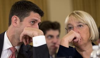FILE - This Nov. 13, 2013 file photo shows House Budget Committee Chairman Rep. Paul Ryan, R-Wis., left, speaking with Senate Budget Committee Chair Sen. Patty Murray, D-Wash. on Capitol Hill in Washington at the start of a Congressional Budget Conference. Ryan likened his 2-year budget agreement with Democrats to taking a few steps in the right direction. But the bipartisan deal also carries potential value for Republicans and Ryan himself at a time when the party lacks a clear leader ahead of the 2014 midterm election. If the agreement eventually comes to represent the badly needed bridge between Republican factions, Ryan was its builder.  (AP Photo/Jacquelyn Martin, File)