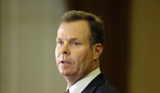 FILE - In this Nov. 21, 2013 photo, Utah Attorney General John Swallow speaks during a news conference in Salt Lake City. Swallow announced Thursday that he is stepping down amid multiple investigations of bribery and misconduct that have hounded him ever since he took office at the beginning of the year.  The Utah Republican Party's governing body is set to select three candidates on Saturday, Dec. 14, 2013 to replace Swallow. Gov. Gary Herbert will choose one of the three to fill the office until a special election can in November 2014. (AP Photo/Rick Bowmer)