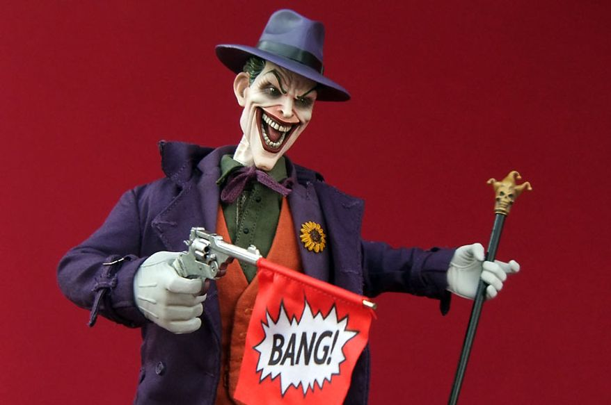 Sideshow Collectibles' sixth scale Joker gets a bang out of his latest gag. (Photo by Joseph Szadkowski/The Washington Times)