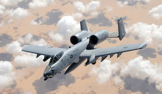 An A-10 Thunderbolt II flies off the wing of a KC-135 Stratotanker during a coronet mission over Egypt Oct. 12, 2012. The A-10 is from the Arkansas Air National Guard's 188th Fighter Wing and the KC-135 is from 100th Air Refueling Wing at Royal Air Force Mildenhall, England. A coronet is when an aerial refueling tanker escorts fighters over long distances, regularly topping off their fuel tanks along the way. The 188th FW aircrew was returning home from a deployment to Bagram Airfield, Afghanistan in support of Operation Enduring Freedom. (U.S. Air Force photo by Staff Sgt. Austin M. May)