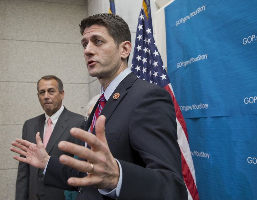 ** FILE ** This photo taken Dec. 11, 2013, shows House Budget Committee Chairman Rep. Paul Ryan, R-Wis., right, accompanied by House Speaker John Boehner of Ohio speaking during a news conference on Capitol Hill in Washington. (AP Photo/J. Scott Applewhite)