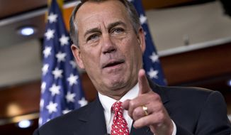 This photo taken Dec. 12, 2013 shows House Speaker John Boehner of Ohio speaking during a news conference on Capitol Hill in Washington. Republican leaders and several hard-right groups are in the throes of a bitter political divorce marked by name-calling and deep suspicions. The eagerness of Boehner and Senate Minority Leader Mitch McConnell to lash out at groups that have given them fits for the past few years has unshackled others in the Republican ranks, who bluntly question the motivation of organizations such as the Senate Conservatives Fund, Heritage Action, Madison Project and Club for Growth.  (AP Photo/J. Scott Applewhite)
