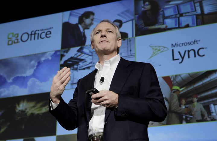 Kurt DelBene, President of the Microsoft Office Division, talks about Microsoft Office 365 at a news conference in San Francisco, Tuesday, Oct. 19, 2010. (AP Photo/Paul Sakuma)