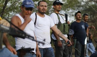 FILE - In this Nov. 5 file photo, villagers belonging to a self-defense group that formed to fight organized crime stand at a checkpoint in the town of Las Colonias, in the state of Michoacan, Mexico. Mexico's human rights body said Tuesday Dec. 17, 2013 the government shouldn't be allowing the formation of vigilante groups in some parts of Mexico where people have risen up to battle drug gangs. It says they could lead to more violence and undermine the rule of law. (AP Photo/Dario Lopez-Mills, File)