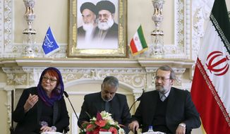 Iran's Parliament speaker Ali Larijani, right, listens to Finnish EU parliament member Tarja Cronberg, left, speaking during their meeting in Tehran, Iran, Tuesday Dec. 17, 2013. (AP Photo/Ebrahim Noroozi)