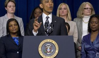 ** FILE ** President Obama speaks at the White House Forum on Women and the Economy, April 6, 2012. (Associated Press)