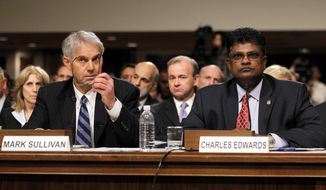 Charles Edwards was to testify before Congress on Thursday about suspected wrongdoing before he stepped down this week as acting inspector general. (Associated Press)
