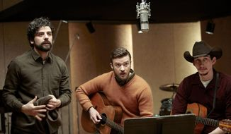 """From left, Oscar Isaac, Justin Timberlake and Adam Driver in a scene from the Coen brothers' """"Inside Llewyn Davis."""" (Associated Press)"""