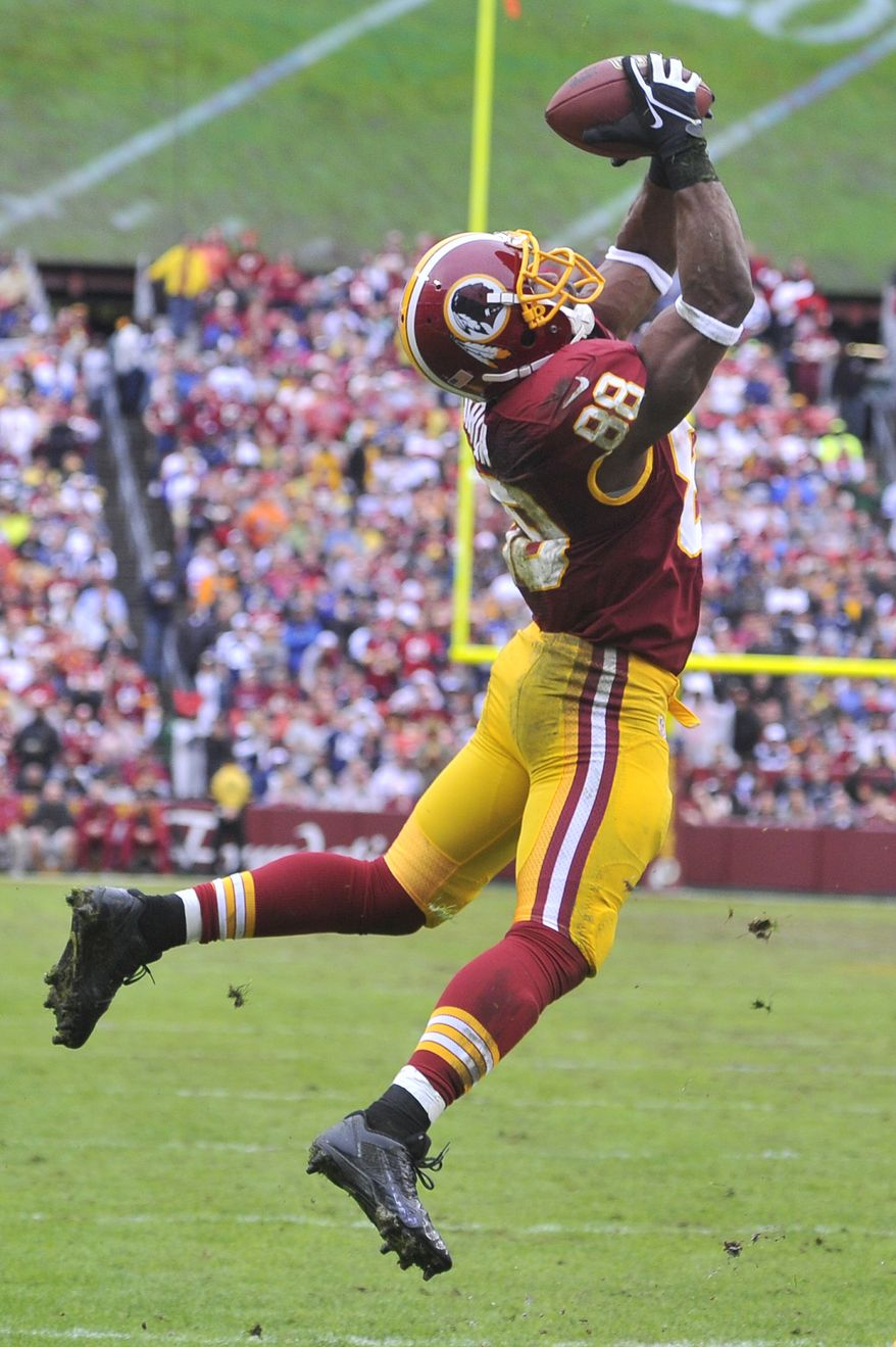 Washington Redskins wide receiver Pierre Garcon (88) hauls in a second-quarter pass and nearly scores at FedExField, Landover, Md., Dec. 22, 2013. (Preston Keres/Special for The Washington Times)