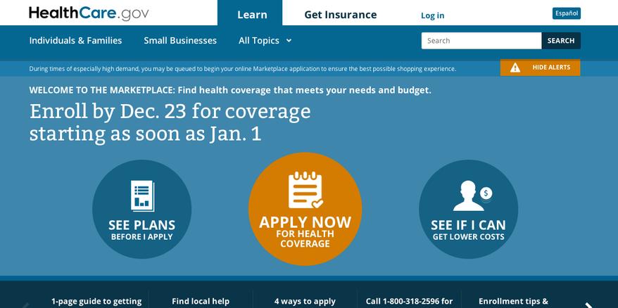 Screen grab of http://www.Healthcare.gov.