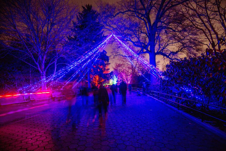 Taking a walk on the wild side at the Smithsonian National Zoo's colorful lights display (Andrew S. Geraci/The Washington Times)