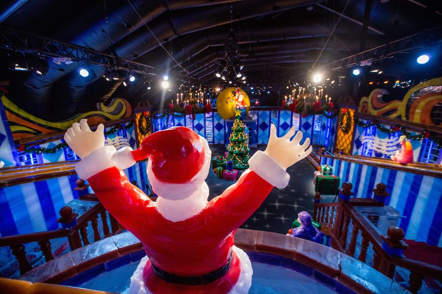 """Merry Christmas to all: """"Twas the Night Before Christmas"""" display at the award-winning ICE event at the National Harbor. This year's event will feature Frosty the Snowman. (Andrew S. Geraci/The Washington Times)"""