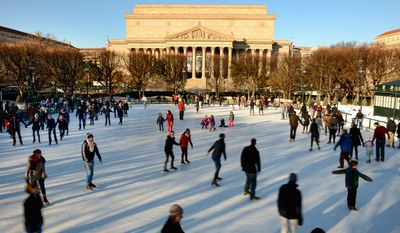 No need to go all the way to New York's Rockefeller Center when there's an outdoor skating rink just outside the National Gallery of Art on the Mall (Andrew harnik/The Washington Times)