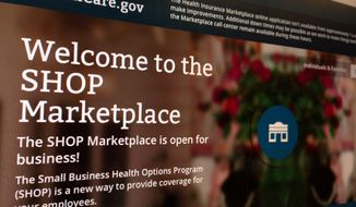 FILE This Nov. 27, 2013 file photo of part of the HealthCare.gov website page featuring information about the SHOP Marketplace is photographed in Washington. Although multiple problems have snarled the rollout of President Barack Obama's signature health care law, it's hardly the first time a new, sprawling government program has been beset by early technical glitches, political hostility and gloom-and-doom denouncements. (AP Photo/Jon Elswick, File)
