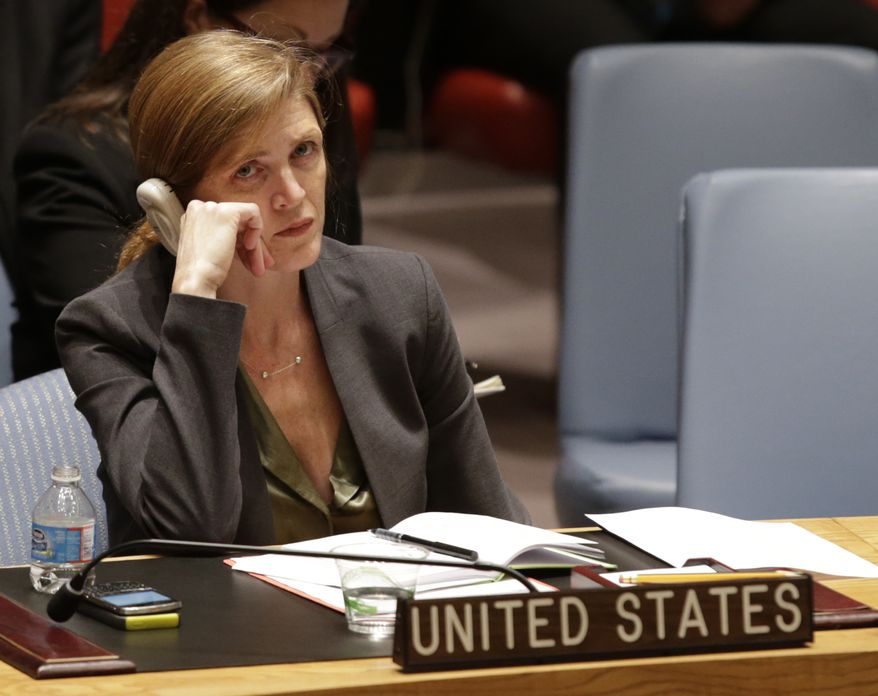 The United States United Nations Ambassador Samantha Power listens as Secretary General Ban Ki-moon speaks during a United Nations Security Council meeting at United Nations headquarters Tuesday, Dec. 24, 2013. The U.N. Security Council voted to temporarily increase the U.N. peacekeeping force in conflict-torn South Sudan to 12,500 troops from 7,000, a nearly 80 percent increase. (AP Photo/Kathy Willens)