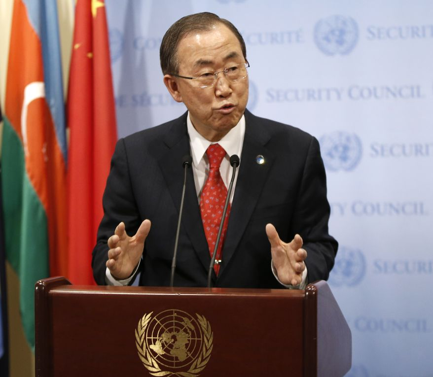 United Nations Secretary General Ban Ki-moon speaks to the media following a U.N. Security Council meeting at United Nations headquarters Tuesday, Dec. 24, 2013. The Security Council voted to temporarily increase the U.N. peacekeeping force in conflict-torn South Sudan to 12,500 troops from 7,000, a nearly 80 percent increase. (AP Photo/Kathy Willens)