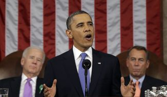 FILE - Beginning with his State of the Union Address on Jan. 28, expect to hear President Obama talk a lot about populist proposals such as raising the minimum wage. While such proposals likely have no chance to become law in 2014, their promotion is aimed at presenting stark contrasts between Democrats and Republicans heading into midterm elections. (AP Photo/Charles Dharapak, File-Pool)
