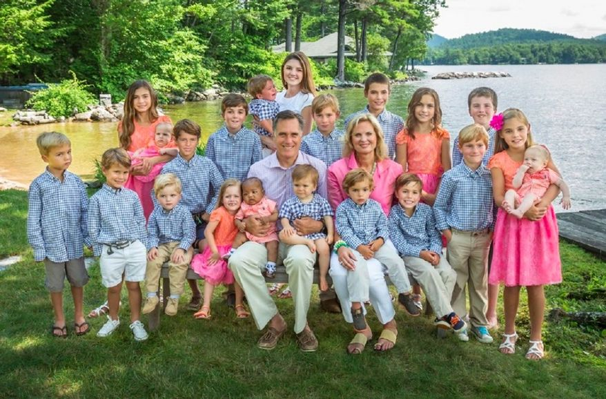 Former Republican presidential candidate Mitt Romney tweeted this photo on Christmas Eve of himself and wife Ann with their grandchildren.