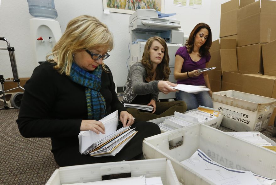 FILE - In this Thursday, Nov. 7, 2013 file photo, Karen England, executive director of the California Resource Institute, left, and volunteers Grace LeFever, center, and Christina Hill, sort through stacks of mail with petitions for a referendum to overturn a new California law that allows transgender students to chose which public school restrooms they use, in Sacramento, Calif. Opponents of the law are working to collect the 504,760 signatures needed to place the referendum on the November 2014 ballot. If approved by voters, the referendum would overturn the law, approved by state lawmakers, that allows transgender students the choice of which restrooms they could use, but also whether to play boys or girls sports. (AP Photo/Rich Pedroncelli, File)