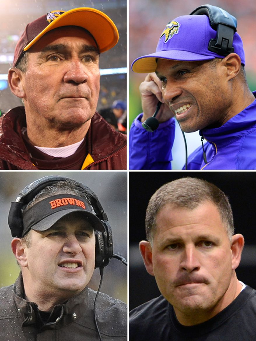 NFL head coaches fired by their respective teams. Washington Redskins Mike Shanahan, Minnesota Vikings Leslie Frazier, Cleveland Browns Rob Chudzinski, Tampa Bay Buccaneers Greg Schiano.