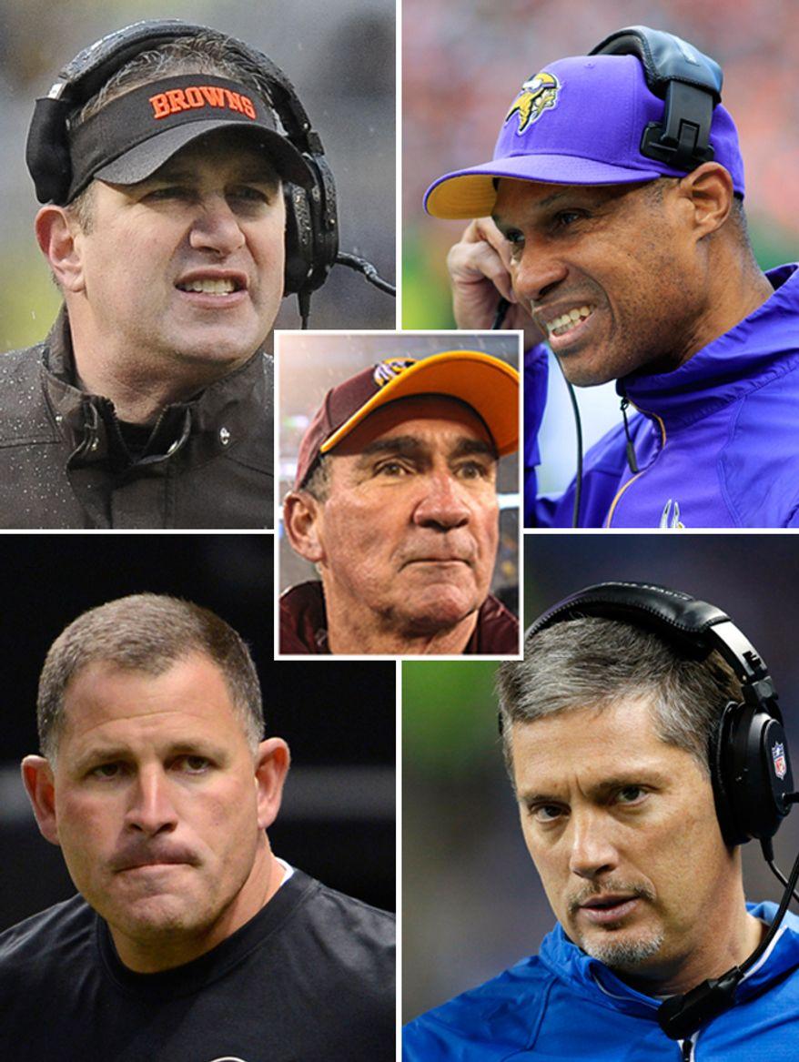 NFL head coaches fired by their respective teams. Washington Redskins Mike Shanahan, Minnesota Vikings Leslie Frazier, Cleveland Browns Rob Chudzinski, Tampa Bay Buccaneers Greg Schiano, Detroit Lions Jim Schwartz.