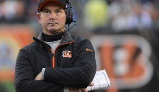 Cincinnati Bengals defensive coordinator Mike Zimmer watches in the second half of an NFL football game against the Dallas Cowboys, Sunday, Dec. 9, 2012, in Cincinnati. (AP Photo/Michael Keating)