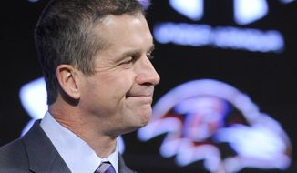 Baltimore Ravens head coach John Harbaugh speaks during an end-of-season news conference Tuesday, Dec. 31, 2013, in Owings Mills, Md. The Ravens, who won last season's Super Bowl, did not make the NFL playoffs this season for the first time since Harbaugh became the head coach in 2008. (AP Photo/Steve Ruark)